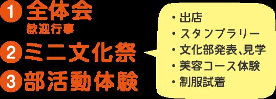 1.全体会 2.ミニ文化祭 3.部活動体験