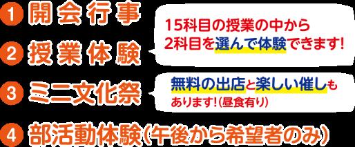 1.開会行事 2.授業体験 3.ミニ文化祭 4.部活動体験(午後から希望者のみ)